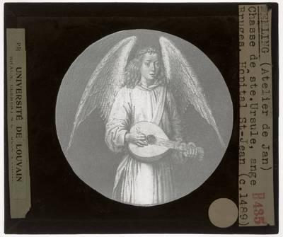 Hans Memling. Reliekschrijn van de H. Ursula :Detail: Engel met een luit