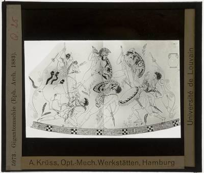 Oud-Grieks aardewerk. Pronomos Painter (atelier). Vaas :Gigantomachia