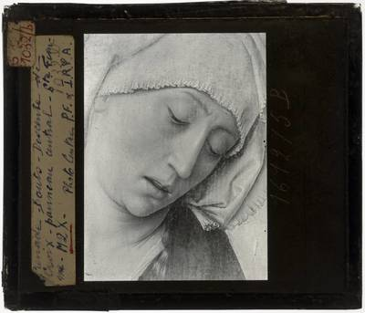 Dirk Bouts. Triptiek van de Kruisafneming :Centraal paneel: Kruisafneming, detail: Vrouw onderaan, rechts