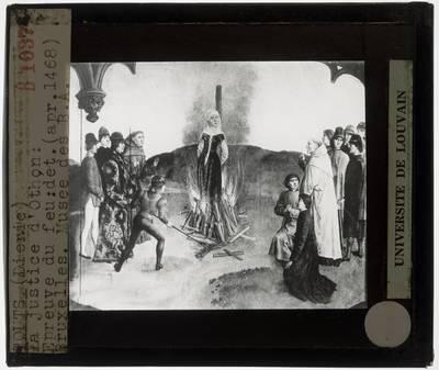 Dirk Bouts. Diptiek De gerechtigheid van keizer Otto III :Paneel rechts: De vuurproef, detail: Vrouw op brandstapel