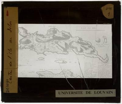 Delos. Kaart met plattegrond van het eiland