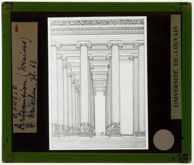 Efes. Artemision :Tempel D: Illustratie van de portiek gezien van de zijkant