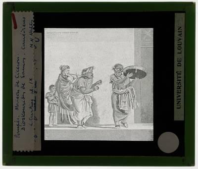 Pompei. Villa Cicero :Dioskourides of Samos: Mozaïek van de muzikanten