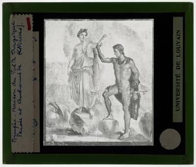 Muurschildering van Perseus en Andromeda :Casa dei Dioscuri