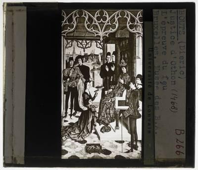 Dirk Bouts. Diptiek De gerechtigheid van keizer Otto III :Paneel rechts: De vuurproef