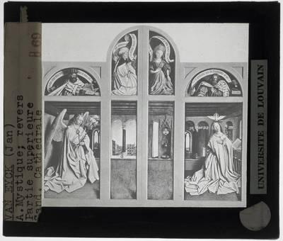 Jan van Eyck. Hubert van Eyck. Lam Gods :Gesloten, bovenste gedeelte