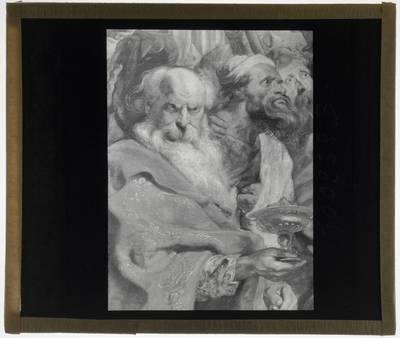 Pieter Paul Rubens. Aanbidding van de koningen :Detail: hoofd van één van de koningen en twee personages