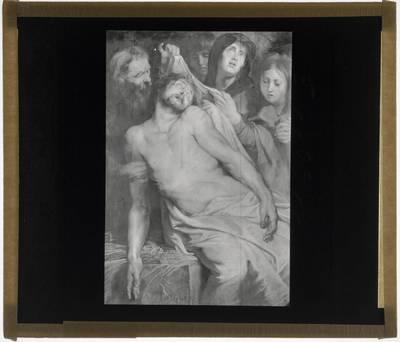 Pieter Paul Rubens. Triptiek met de Graflegging :Centraal paneel: Christus op het stro
