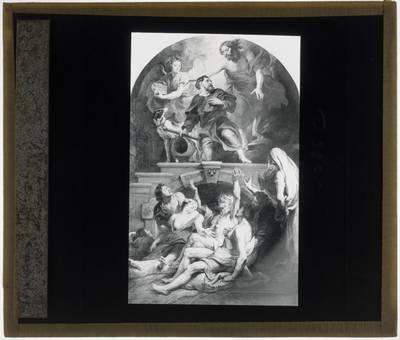 Pieter Paul Rubens. Altaarstuk Christus duidt H. Rochus aan als beschermheilige