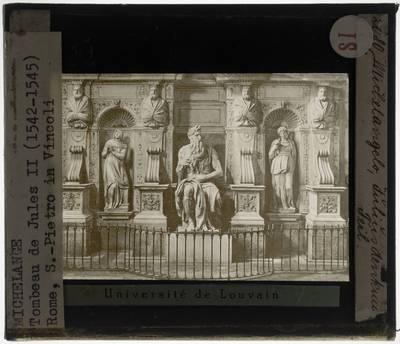 Michelangelo Buonarroti. Grafmonument van paus Julius II :Detail: Onderste partij met Mozes tussen Rachel en Lea