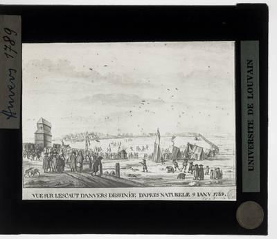 Antwerpen. Prent Zicht op de Schelde met schaatsers uit 1789