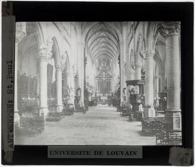 Antwerpen. Kerk Sint-Paulus :Interieur: Algemeen zicht vanuit het middenschip op het koor