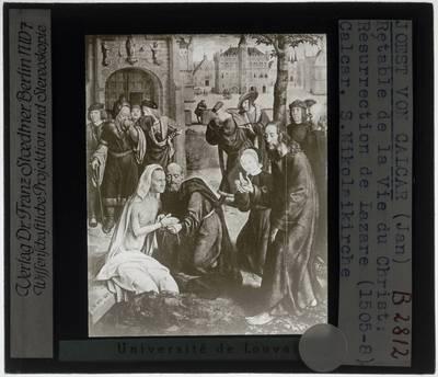 Jan Joest van Calcar. Hoogaltaar St. Nicolaikirche :Detail: De opstanding van Lazarus