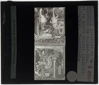 Michael Wolgemut (school). Hoogaltaar :Paneel links: De onthoofding van Johannes de Doper (1). Sint-Martinus deelt zijn mantel (2)