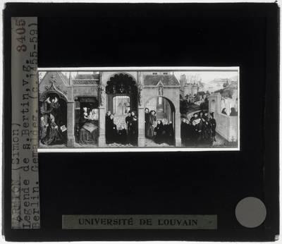 Simon Marmion. Altaar van Saint-Bertin :Paneel rechts: Scènes uit het leven van Sint-Bertinus