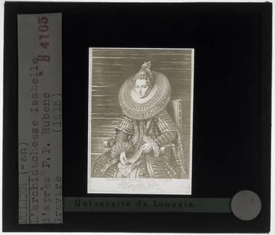 Peter Paul Rubens (naar). Jan Harmensz. Muller. Portret van Isabella Clara Eugenia, landvoogdes der Zuidelijke Nederlanden