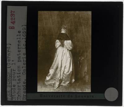 Gerard ter Borch (toegeschreven). Een jonge brief lezende vrouw en een bode in een interieur