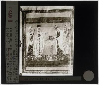 Quadrivium :Miniatuur: Musica, Arethmetica, Geometria en Astrologia (fol. 9v.)