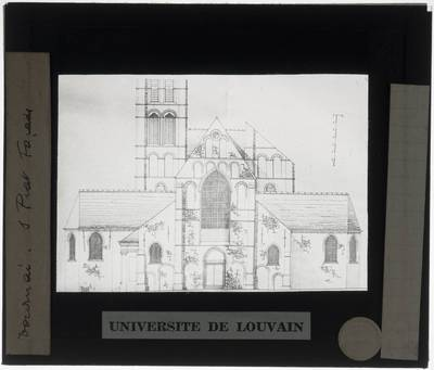 Tournai. Eglise Saint-Piat :Tekening van de westelijke gevel en de toren