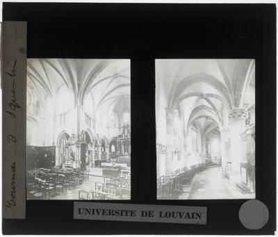 Tournai. Eglise Saint-Quentin :Interieur: Zicht op het koor vanuit het zuidwesten (1). Interieur: Noordelijke kooromgang (2)