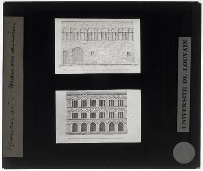 Tournai. Palais Épiscopal (1). Maison de Saint-Piat (2) :Tekening gevel