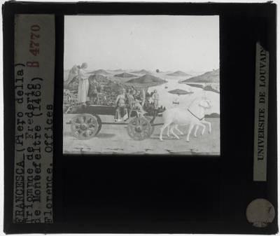 Piero della Francesca. Federico da Montefeltro, hertog van Urbino :Achterzijde: Triomf van Federico da Montefeltro