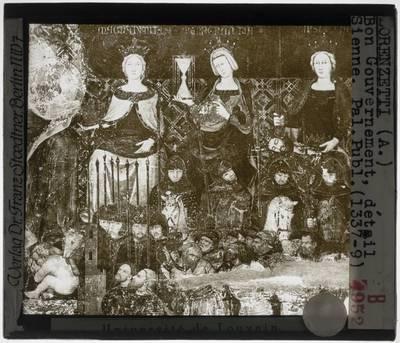 Ambrogio Lorenzetti. De allegorie van het goede bestuur :Detail: Allegorische figuren en soldaten