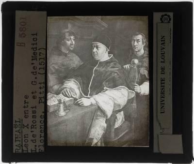 Raphael. Portret van paus Leo X met Giulio de' Medici en Luigi de' Rossi