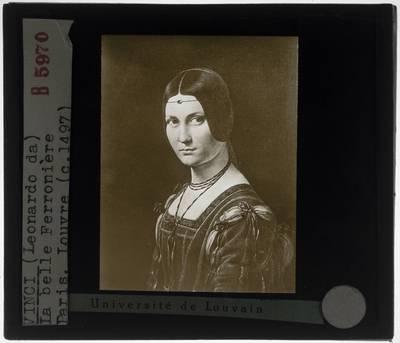 Leonardo da Vinci. Portret van een jonge vrouw, la belle Ferronière