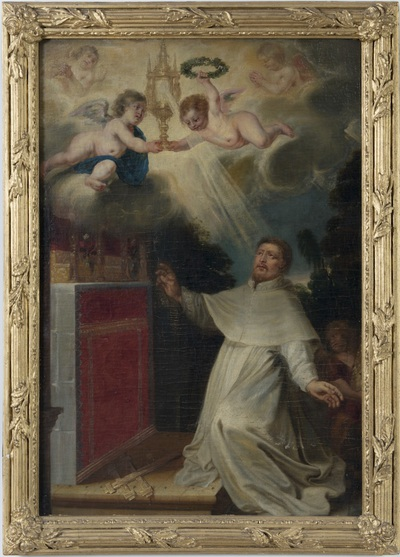 Heilige Norbertus knielt voor het Heilig Sacrament