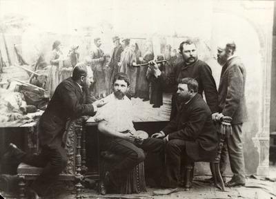 Mednyánszky László, Feszty Lajos, Feszty Árpád, Balkay Béla, Csepy Lőrinc csoportképen