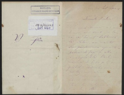 Scrisoare adresata domnului Niculescu
