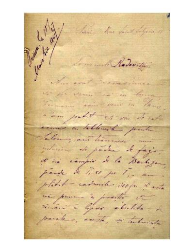 Scrisoare adresata lui Vasile Radovitz