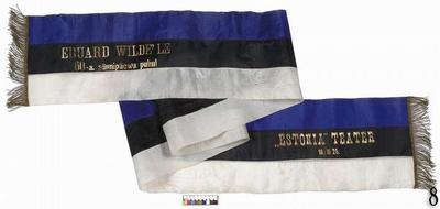 Blue-black-white sash 'To Eduard Wilde on his 60th Birthday'