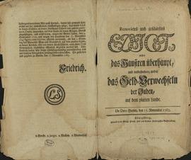 Renovirtes und geschärftes Edict wider das Hausiren überhaupt, und insbesondere wider das Geld-Verwechseln der Juden, auf dem platten Lande