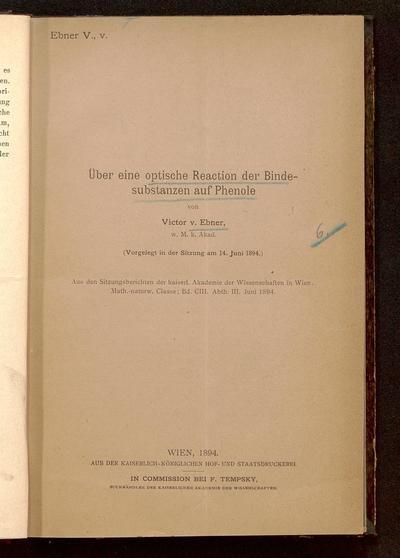 Über eine optische Reaction der Bindesubstanzen auf Phenole : (vorgelegt in der Sitzung am 14. Juni 1894)