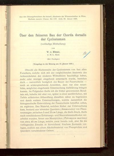 Über den feineren Bau der Chorda dorsalis der Cyclostomen : (vorläufige Mittheilung) ; (vorgelegt in der Sitzung am 10. Jänner 1895)