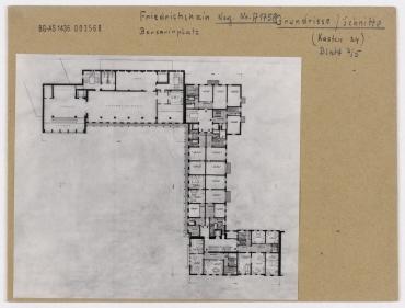 Planrepro: Grundriss der Bebauung am Frankfurter Tor. Berlin, Friedrichshain, Karl-Marx-Allee (vorher Stalinallee)/Frankfurter Tor