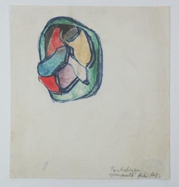Farbskizze gemacht für Arp. Farbskizze von dem Konkreten Relief Nr. 9 von Hans Arp