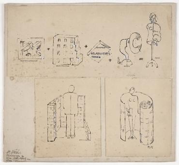 Expressionismus + Architektur + Einstein Relativitätstheorie + Radio = Mode. Zeichnung zu einem Modeaufsatz von Alexa Röhl