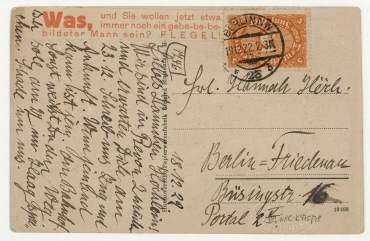 Merz-Postkarte von Kurt Schwitters an Hannah Höch mit Abbildung: Kurt Schwitters. Bild rot Herz-Kirche und Merzdichtung, Berlin