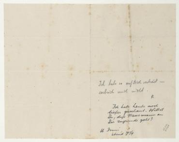 Brief von Raoul Hausmann und Johannes Baader an Hannah Höch. Berlin