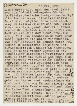 Postkarte von Til Brugmann an Grete König. Berlin