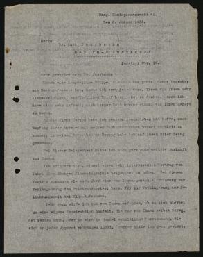 Brief aus Den Haag an Dr. Kurt Jacobsohn, Fragen zu Belichtungszeiten