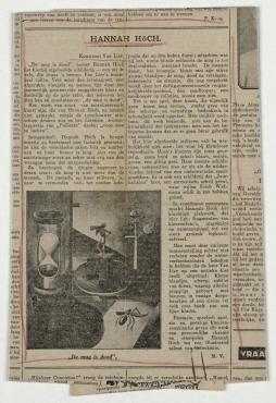 Hannah Höch. Algemeen Handelsblad - Avondblad - Derde Blad, [o. O.]. S. 9, Rezension der Ausstellung von Hannah Höch in den Kunstzaal Van Lier, Amsterdam, 28. September - 18. Oktober 1929