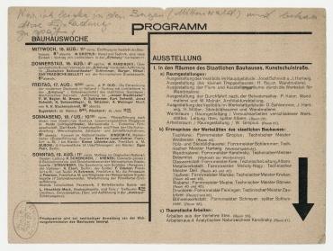 Einladungskarte zur Ausstellung des Staatlichen Bauhauses Weimar. Weimar