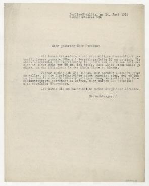 Brief von Raoul Hausmann an Herrn Strauss. Berlin
