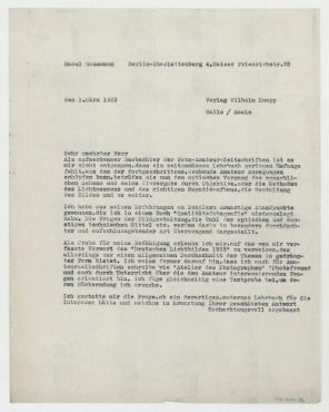 Brief von Raoul Hausmann an Wilhelm Knapp Verlag. Berlin