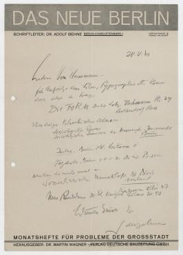 Brief von Adolf Behne an Raoul Hausmann. Berlin