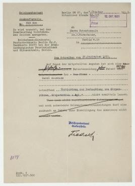 Brief von Reichspatentamt Berlin an Fritz Warschauer. Berlin
